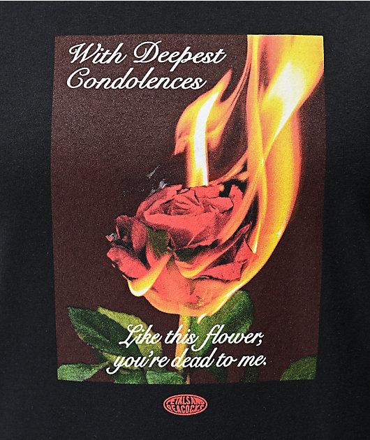 Petals and Peacocks Condolences Rose Black T-Shirt