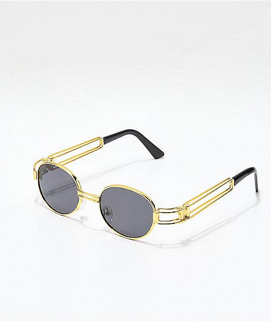 Petals and Peacocks Domina Black & Gold Sunglasses