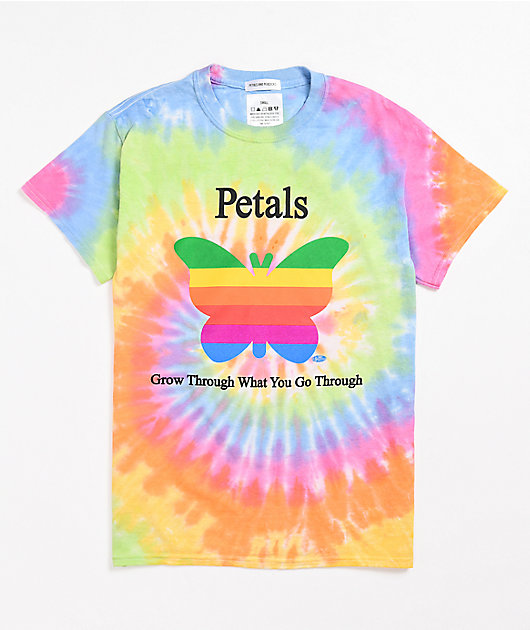 Petals and Peacocks Grow Through Tie Dye T-Shirt