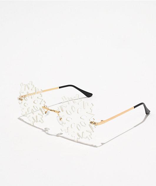 Petals and Peacocks Ice Snowflake Arctic White Sunglasses