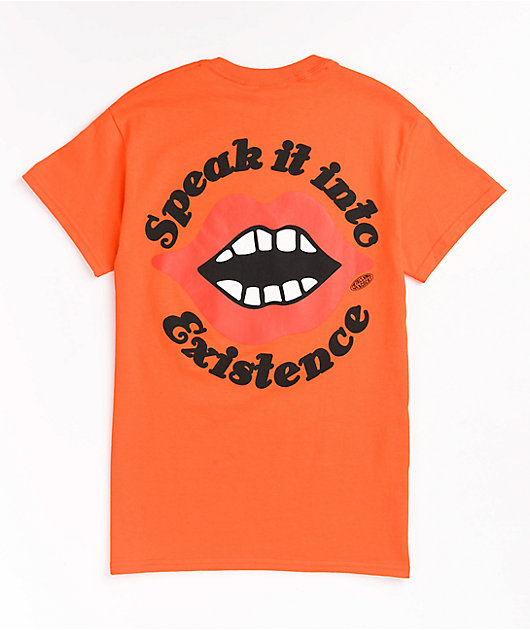 Petals and Peacocks Into Existence Orange T-Shirt