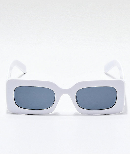 Petals and Peacocks Rhubic Square White Sunglasses