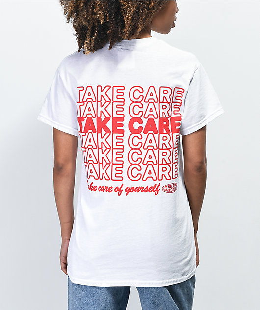 Petals and Peacocks Take Care Of Yourself White T-Shirt