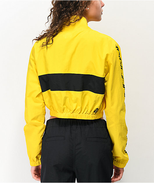 Petals by Petals & Peacocks Yellow & Black Crop Windbreaker Jacket