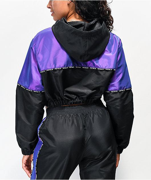 Petals by Petals and Peacocks Black & Iridescent Purple Crop Anorak Windbreaker Jacket