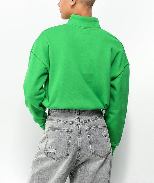 Petals by Petals and Peacocks It's Fantastic Green Half Zip Fleece Sweatshirt