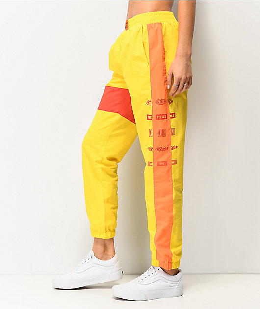 Petals by Petals and Peacocks Yellow & Red Colorblock Track Pants