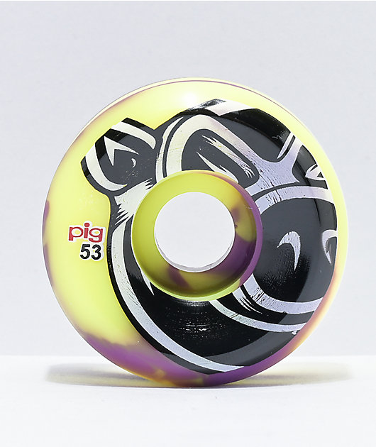 Pig 53mm 101a Purple & Yellow Swirl Skateboard Wheels