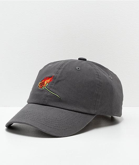 Primitive Burning Rose Black Washed Strapback Hat