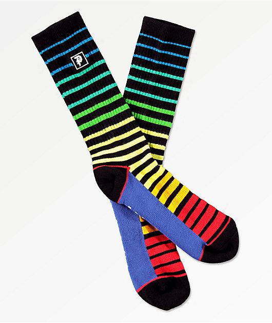 Primitive Dirty P Block Striped Crew Socks