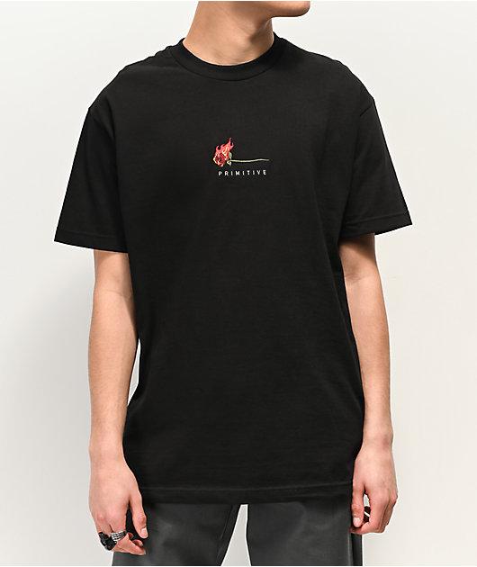 Primitive Heartbreaker Burning Rose Black T-Shirt