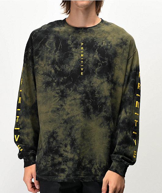Primitive Moods camiseta tie dye de manga larga verde y negra