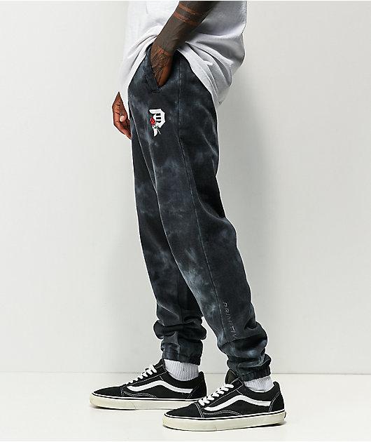 Primitive Rosebud Black Dye Wash Sweatpants