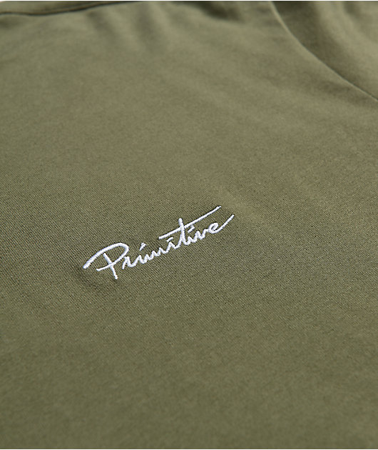 Primitive Solid Green Long Sleeve Polo Shirt