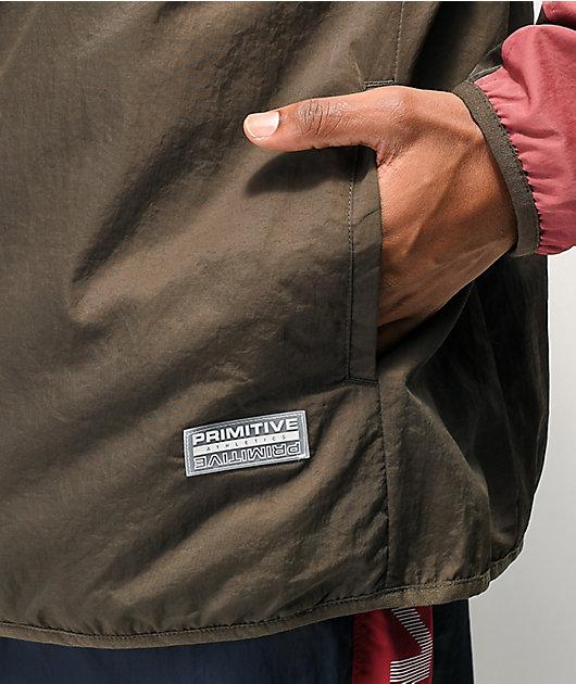 Primitive Wilshire Burgundy and Brown Colorblock Anorak Jacket