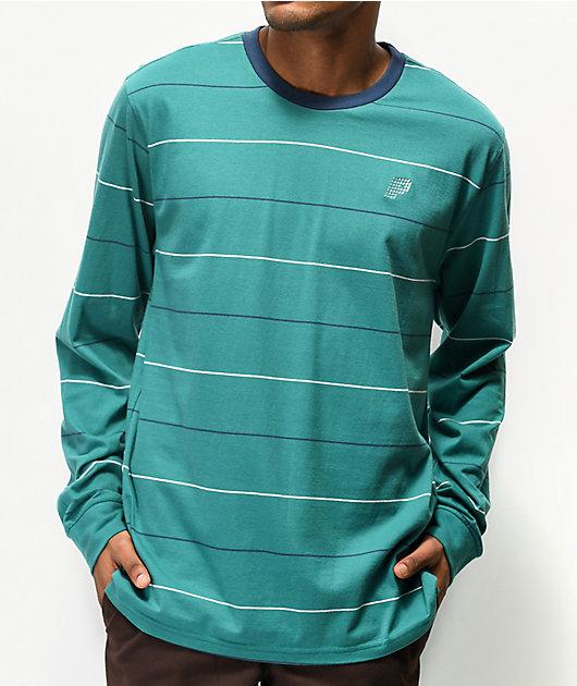 Primitive Wrigley Green, Navy & White Stripe Long Sleeve T-Shirt
