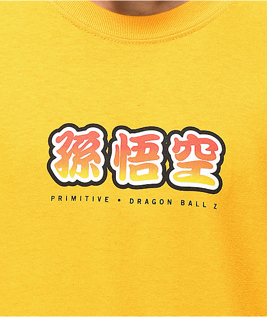 Primitive x Dragon Ball Z Goku Saiyan Style camiseta dorada