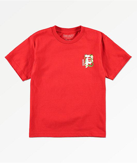 Primitive x Dragon Ball Z Shenron Dirty P camiseta roja para niños