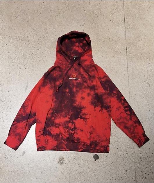 Primitive x Naruto Crows Red & Black Tie Dye Hoodie