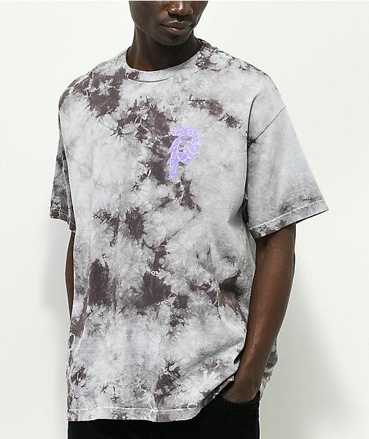Primitive x Naruto Sasuke P Washed Grey & Black Tie Dye T-Shirt