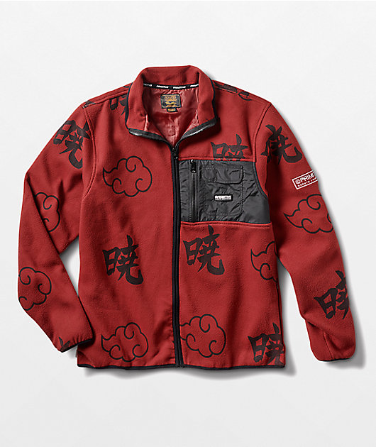 Primitive x Naruto Shippuden II Akatsuki Burgundy Fleece Zip Up Jacket