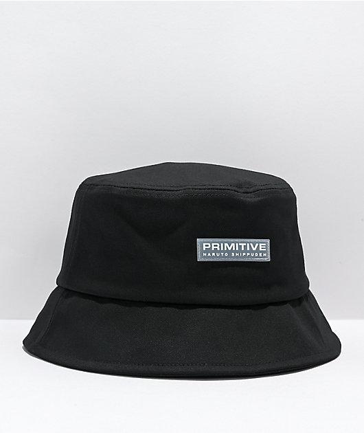 Primitive x Naruto Shippuden Sasuke Strike Black Bucket Hat