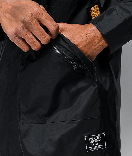 Primitive x Naruto chaqueta cortavientos negra