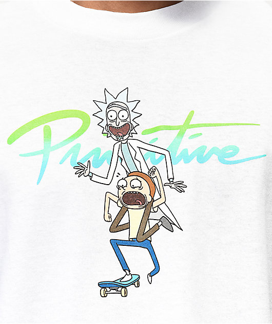 Primitive x Rick and Morty Nuevo Skate camiseta blanca