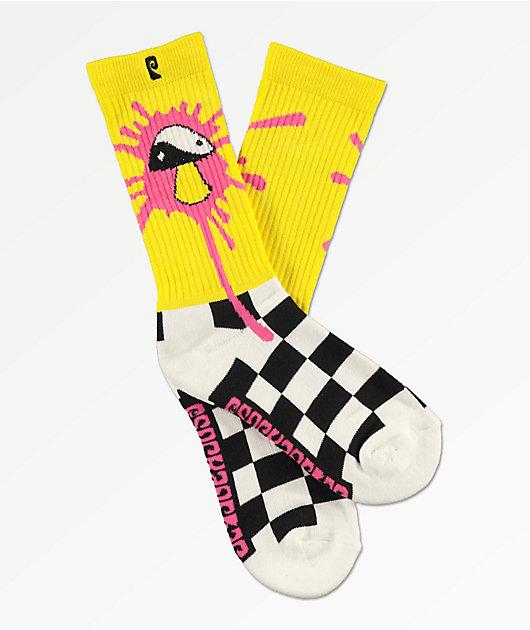 Psockadelic Slime Yellow Checker Crew Socks
