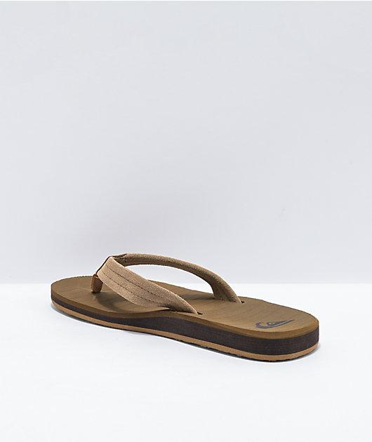 Quiksilver Carver Tan & Brown Suede Sandals