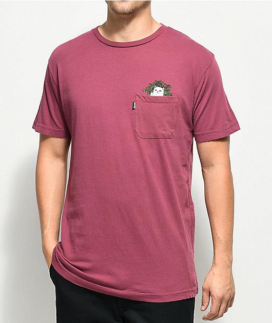 RIPNDIP Cat Nip camiseta borgoña con bolsillo