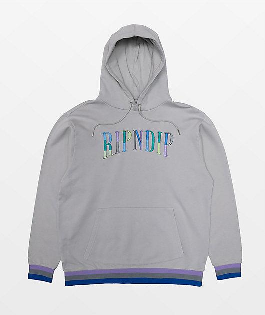 RIPNDIP Color Block Logo Grey Hoodie