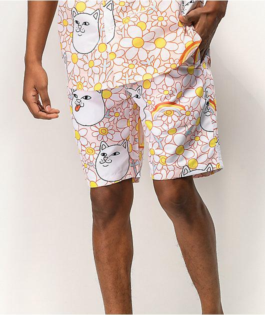 RIPNDIP Daisy Daze Pink & White Elastic Waist Shorts