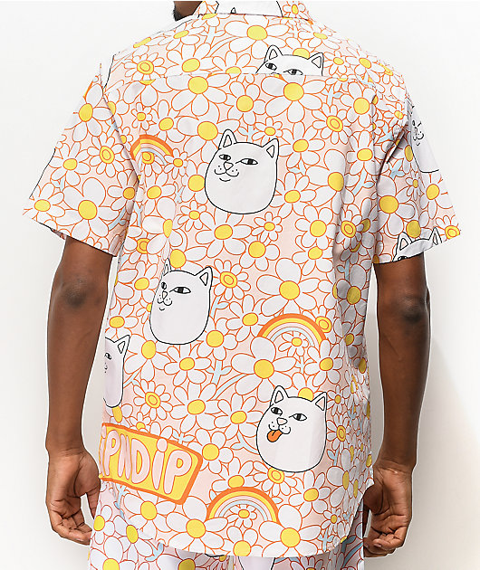 RIPNDIP Daisy Daze Pink & White Short Sleeve Button Up Shirt