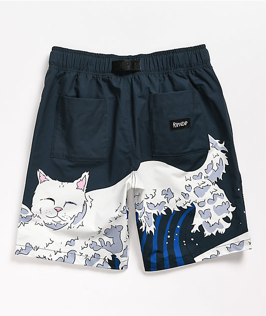 RIPNDIP Great Wave Navy Board Shorts