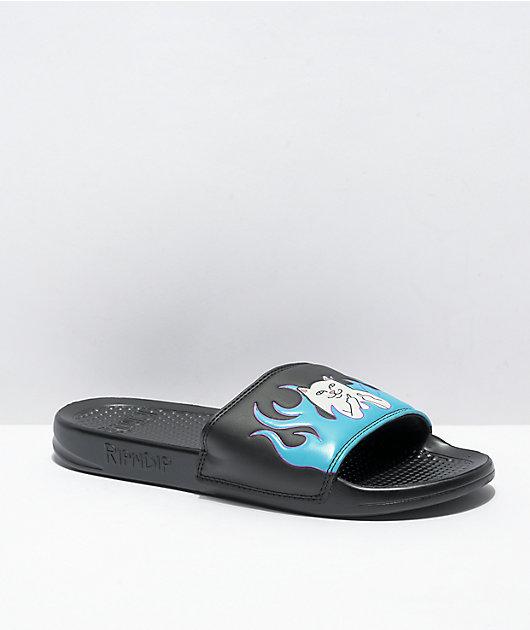 RIPNDIP Lord Nermal Black & Blue Flame Sandals