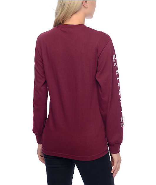 RIPNDIP Lord Nermal Burgundy Long Sleeve T-Shirt