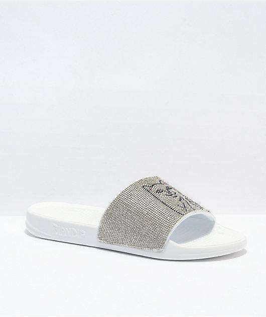 RIPNDIP Lord Nermal Rhinestone White Slide Sandals
