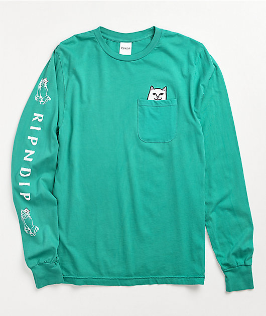 RIPNDIP Lord Nermal Teal Long Sleeve Pocket T-Shirt