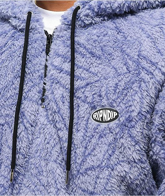 RIPNDIP Nerm Leaf sudadera con capucha de polar lavanda con media cremallera