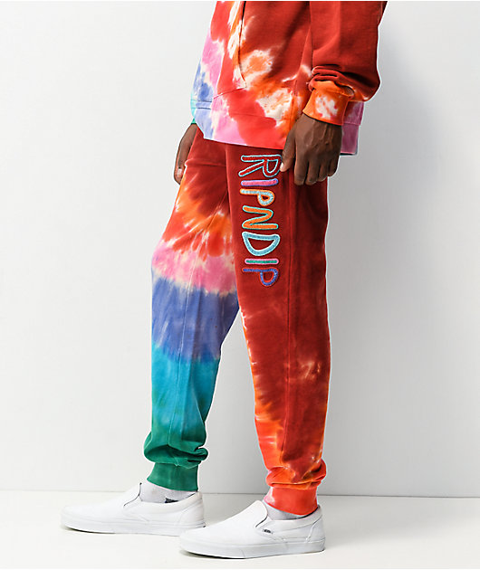 RIPNDIP OG Prisma Red Tie Dye Jogger Sweatpants