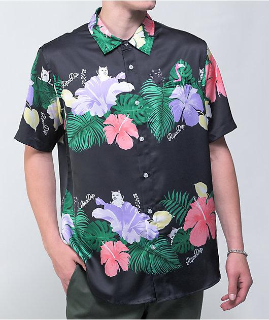 RIPNDIP Pablo Black Floral Short Sleeve Button Up Shirt