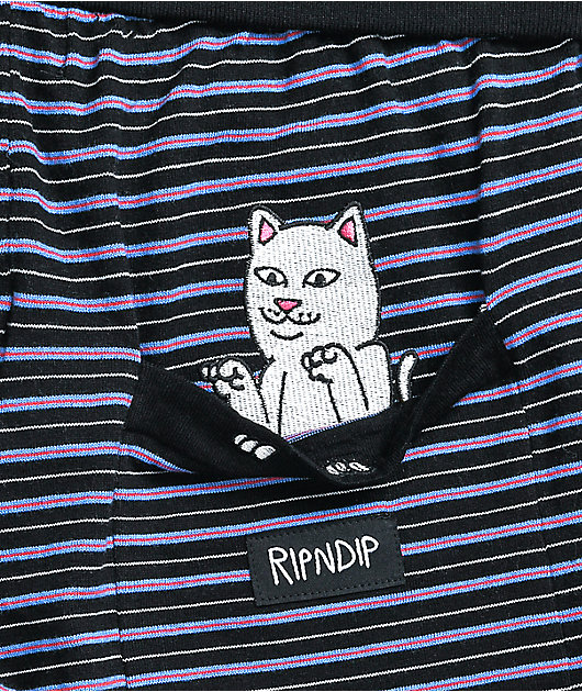 RIPNDIP Peeking Nerm Black Stripe Sweat Shorts