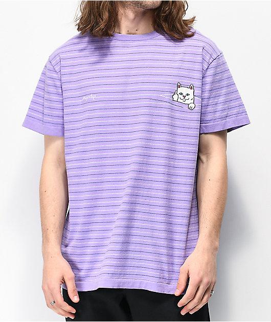 RIPNDIP Peeking Nermal Purple Striped T-Shirt