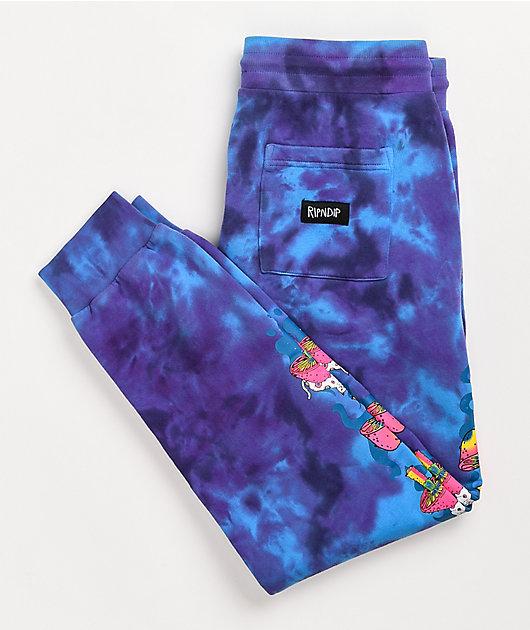 RIPNDIP Psychedelic Purple & Blue Tie Dye Jogger Sweatpants