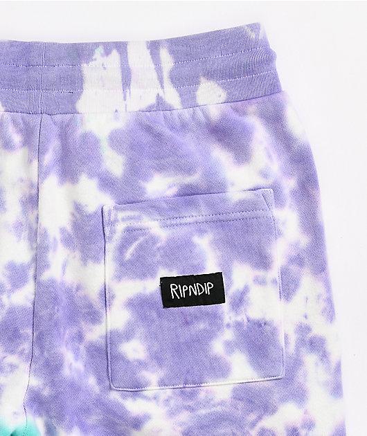 RIPNDIP Psychedelic Purple & Teal Tie Dye Sweatpants