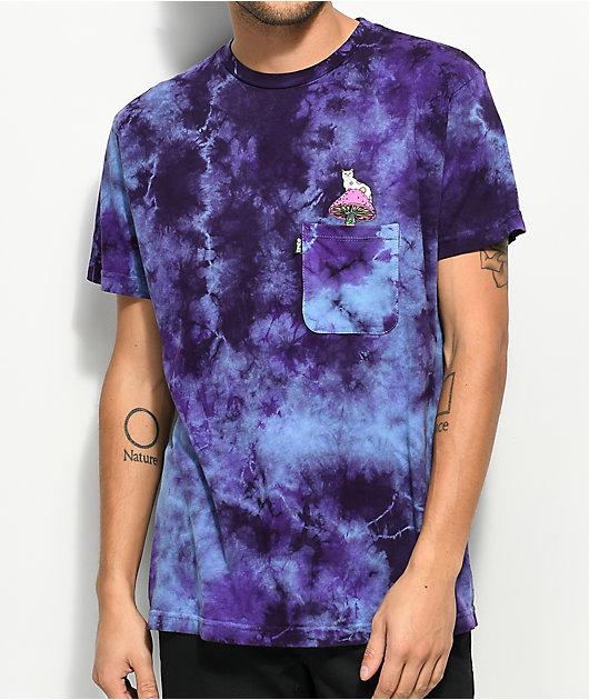 RIPNDIP Psychedelic Purple Acid Wash Pocket T-Shirt