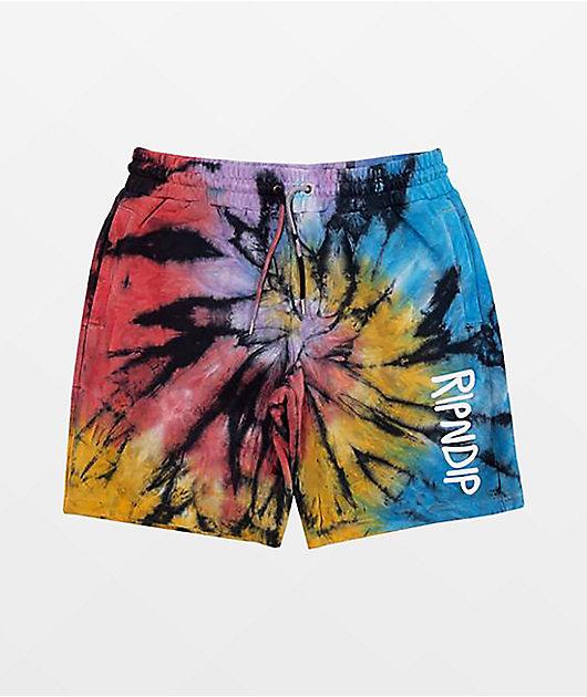 RIPNDIP Rubber Logo Tie Dye Sweat Shorts