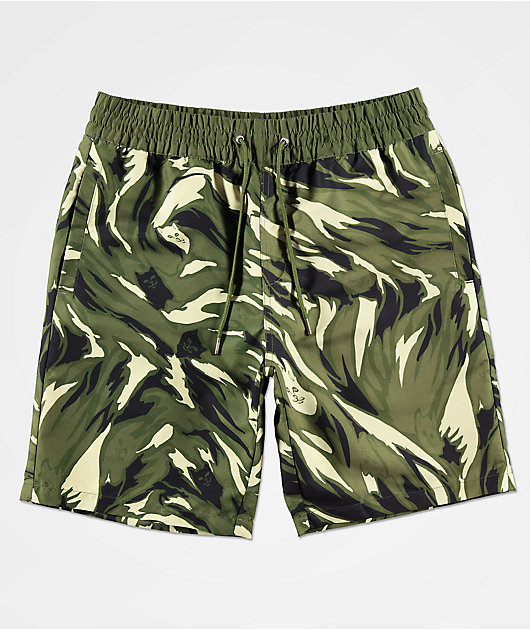 RIPNDIP Tiger Nerm Camo Elastic Waist Board Shorts