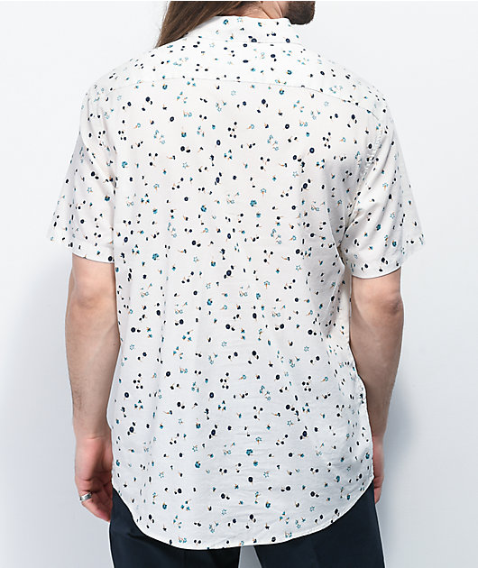 RVCA Calico Floral White Short Sleeve Button Up Shirt